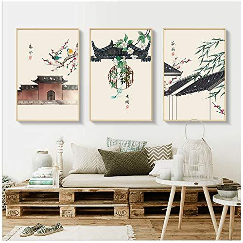 LILONG Leinwand Malerei Traditionelle Gebäude Wandkunst Bambus druckt Wandbilder Wohnzimmer Wohnkultur-50x70 cm Kein Rahmen
