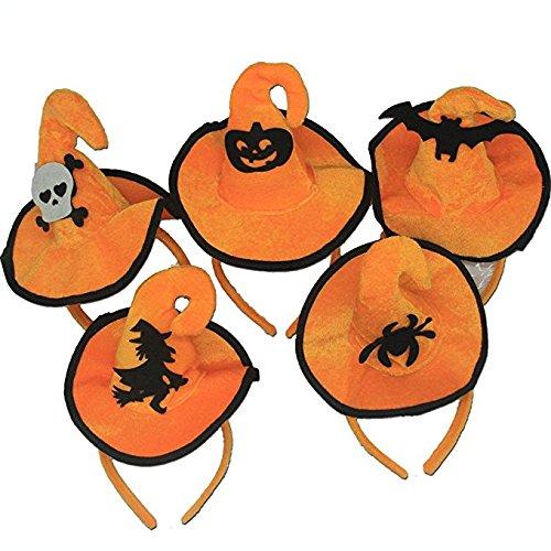 Halloween Stirnband, Kürbis Haarband Schädel Haar Spange Spinne/Fledermaus /Orange Hexe Hut Haare hoop Cosplay Kostüm Zubehör Kopfschmuck Haarschließe für Kinder Erwachsene Party Dekoration (5 (Kostüm Halloween Block Kopf)