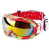 Ewin Niños Esquí Nieve Snowboard Motonieve Patinaje de Hielo Gafas de Proteccion para Hombres y Mujeres, Esquí Snowboarding Deportes al Aire Libre, Vision Esferica Real REVO Lente Antiniebla (Fresa)