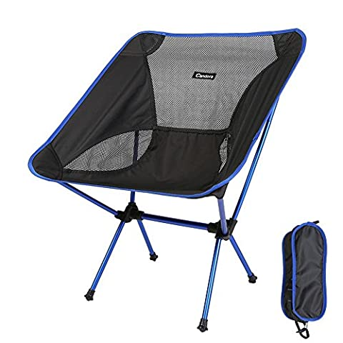 Candora™Portable Ultralight Folding Chair, with Carry Bag Heavy Duty 330lbs Capacity Foldable Seat for Picnic Hiking Fishing Camping Garden BBQ Beach Patio Outdoor & Indoor Activities (Blue)