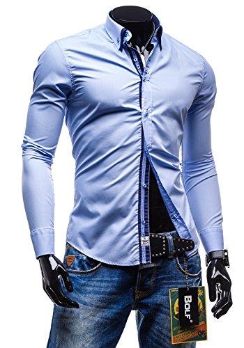 BOLF Herrenhemd Freizeithemd Langarm Slim Fit Figurbetont NEW 4706 Hellblau