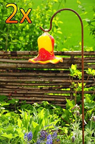 17cm Grande Giardino sfera fiori decorazione tulipano goccia, vetro resistente e con gancio supporto Schäfer Asta Inverno fiori sfera tulipano campana Rose da giardino a forma di tulipano e design in rosso/giallo Crea, 125cm con asta di metallo Rose sfera gartenkugeln, Acchiappasole a sfera per inverno, Acchiappasole, Disco di acchiappasole rondelle decorativa da giardino, resistente al gelo, alla luce e Fest, palline Rose invernale vetro di decorazione da giardino Schäfer Asta manico in metallo arco Asta