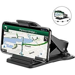 Bovon Soporte Móvil Coche, Soporte Teléfono y GPS para Ahorrar Espacio con 5 Clips para el Cable para iPhone XS Max XR 8 Plus 7 6S Samsung S9 Plus S8, Sin Bloqueo de Visión para Una Conducción Segura