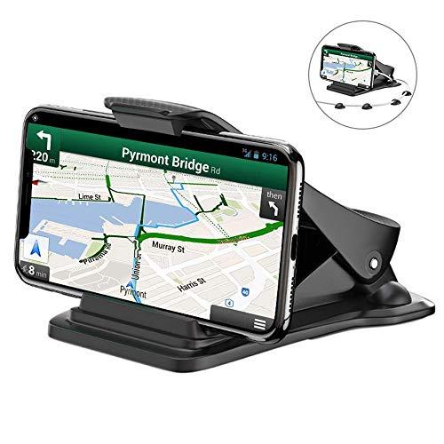 Handyhalterung Auto, Bovon Platzsparende Smartphone Halterung KFZ auf Armaturenbrett, GPS Halterung, mit 5 Kabelklemmen, Handyhalter fürs Auto für alle 3-6.5 Zoll Smartphones (Schwarz)