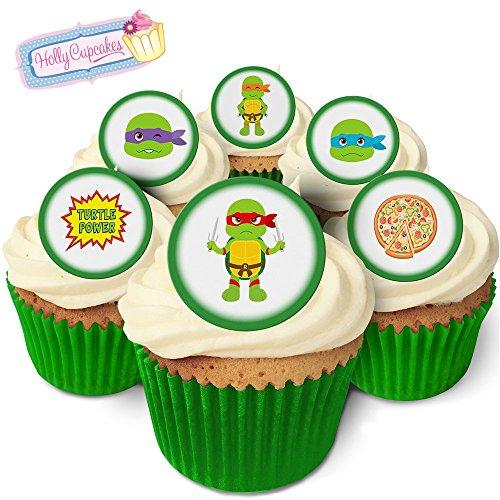 24 Wunderschöne essbare Kuchendekorationen: Cartoon Schildkröten / 24 Edible Decorations: Cartoon Turtles (Ninja Dekorationen Turtle Cupcake)