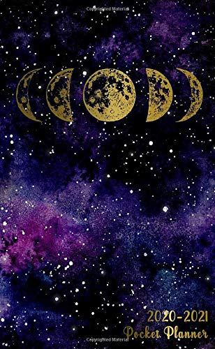2020-2021 Pocket Planner: Golden Phases of The Moon 2 Year Monthly Pocket Planner with Phone Book, Password Log and Notebook. Pretty Galaxy Space 24 Months Agenda, Diary, Calendar and Organizer. (Beste Pocket-kalender)