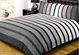 Soho Black Stripe Duvet Cover Quilt Bedding Set, Black White Grey, Double Size by Rapport