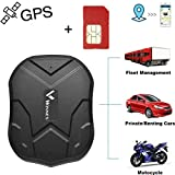 Winnes Winnes GPS Tracker mit SIM-Karte, Starker magnetischer GPS Tracker Lange Standby-Zeit Fahrzeugortung wasserdichte Echtzeit-Ortung Anti-Lost Locator mit kostenloser App TK905 ...