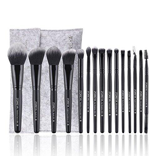 CHENG 15 Stück Faser Make-Up Pinsel & Tools Set Mit Schneewittchen Spitze Haar Und Holzgriff Als Gesicht Make-Up Pinsel Pro Set Mit Einer Faser Filz Kosmetiktasche