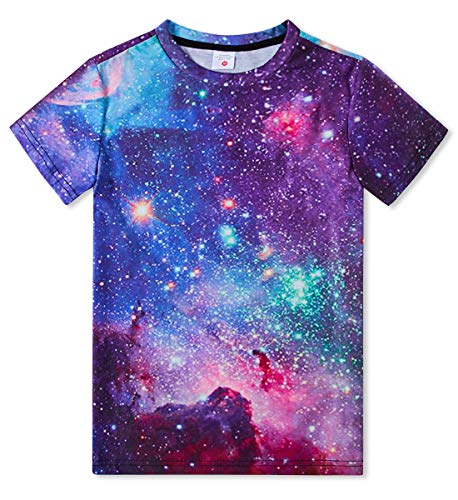 Pullover Mädchen Pullover (Idgreatim Kinder Teenager Junge Mädchen 3D Print Kurzarm T-Shirt Kleidung Outfit Galaxy Pullover Tees 10-12 Jahre)