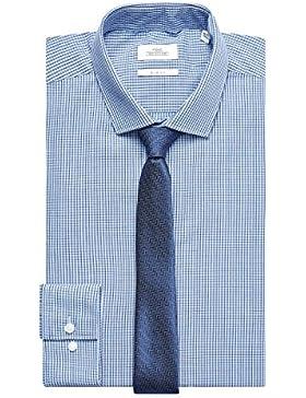 next Hombre Conjunto De Camisa Cuadros Corte Ajustado Y Corbata
