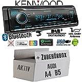 Audi A4 B5 Aktiv - Autoradio Radio Kenwood KMM-BT504DAB - DAB+ | Bluetooth | iPhone/Android | Spotify | VarioColor - Einbauzubehör - Einbauset