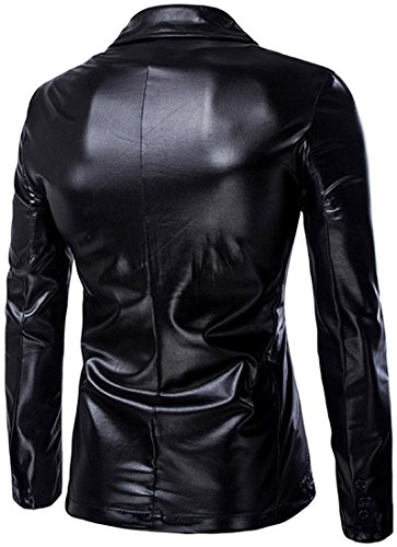Jeansian Hommes Mode Costumes Solid Color Casual Blouson Men's Fashion Bling Shiny Lapel Blazer Casual Suit Party Show Jacket Tops 9514 Black