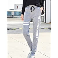TT&NIUZAIKU Mujer Simple Tiro Medio Elástico Corte Recto Pantalones de Deporte Pantalones, Letra Invierno Otoño, Light Gray, XXL