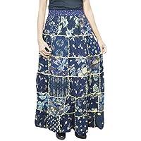 Mogul Interior Women A-Line Patchwork Skirt Blue Rayon Gypsy Fashion Skirts S/M