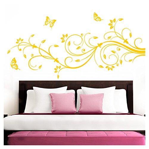 Grandora Wandtattoo XXL Blumenranken Schmetterlinge Blumen I gelb (BxH) 160 x 69 cm I Schlafzimmer Liebe Flur Wohnzimmer modern Aufkleber Wandaufkleber W1073