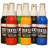 PICCOLINO Textil Spray 6er-Set - Textilfarbe zum Sprühen/Sprayen - Textilsprühfarbe 6x100ml Gelb, Rot, Blau, Grün, Braun, Grafit-Schwarz