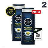 NIVEA MEN POWER FRESH 24H Fresh Effect 2x 500ml (1000ml) - Duschgel Body, Face & Hair