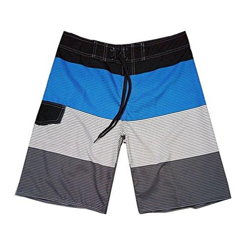 Baymate Herren Streifen Badehosen Spleiß Boardshorts Surf-Shorts Boardshorts Blau