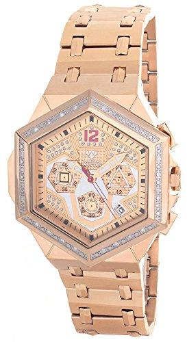 Aqua Master hombres del diamante bisel Rose Gold-tone cronógrafo reloj W356