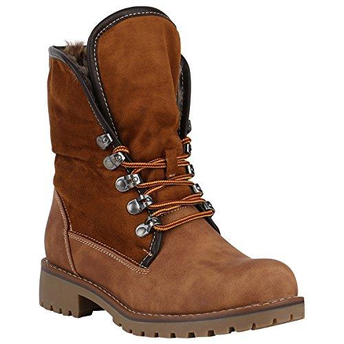 Warm Gefütterte Damen Stiefeletten Worker Boots Kunstfell Schuhe 149823 Hellbraun Arriate 40 Flandell