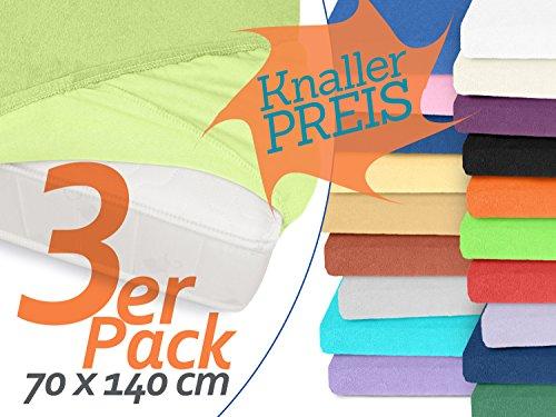 3er-Pack Frottee-Spannbetttücher in der Größe 70 x 140 cm zum Knaller-Preis! Erhältlich in 26 Farben!, 70 x 140 cm, lindgrün (Frottee Gewebte)