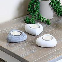 Charmant Set Von Drei Rustikale Stein Herz Geformter Teelichthalter U2013 Natur  Verwittertem Stein Stabile Schwere Teelicht Kerzenhalter