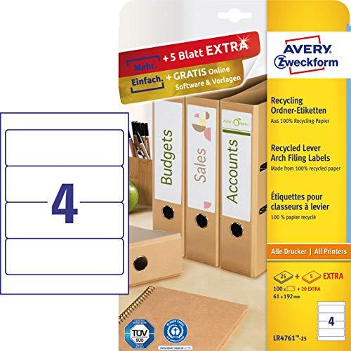 Avery Zweckform LR4760-25 Recycling Ordnerrücken Etiketten (A4, 210 Rückenschilder, schmal/kurz, selbstklebend, blickdicht, 38 x 192 mm) 30 Blatt, naturweiß