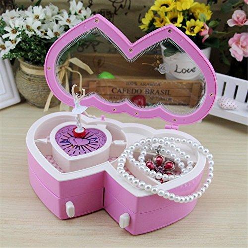Spieldosen Musikspieldose Kinder Schmuckdose Ballerina Schmuck Aufbewahrungsbox für kleine Mädchen (Rosa)