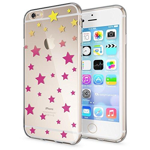 iPhone 6 6S Coque Protection de NICA, Housse Motif Silicone Portable Premium Case Cover Transparente, Ultra-Fine Souple Gel Slim Bumper Etui pour Apple iPhone 6S 6 - Transparent Stars