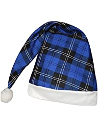 Adults Blue Hunting Tartan Wee Willy Winky Night Cap Hat With White Pom