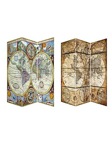 Home Line Biombo Mod. Mapa Mundi. Fotoimpresión Sobre Lienzo Reforzado, montado Sobre bastidores de Madera.