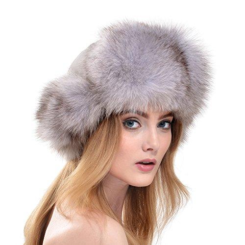 Vemolla Damen Echt Fuchs Pelz Hut Russland Mütze mit Echtes Leder Natur Kopf Weiß