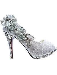 AllhqFashion Mujeres Tacón Brillante Sin Cordones De Salón con Flores y Diamante