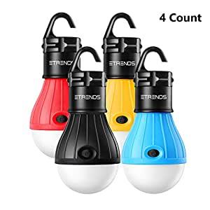 E-TRENDS 4 Pack LED Lantern Tent Light Bulb Camping Hiking Fishing Emergency Lights, Battery Powered Portable Lamp, Multi-colour