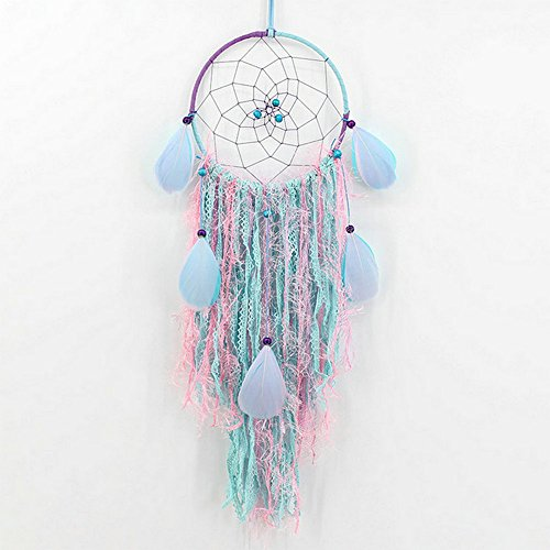 Traumfänger handgefertigt Traditionelle Feder Wandbehang Auto hängende Dekoration Home Ornament Decor Ornament Craft Geschenk (Haare Färben In Glow Dark The)