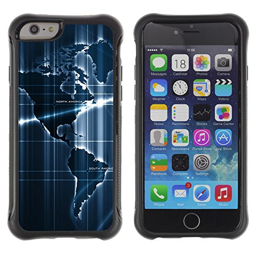 Graphic4You America World Sensor Map Geography Design Shockproof Anti-Rutsch Weichen Hülle Case Tasche Schutzhülle für Apple iPhone 6 Plus / 6S Plus Design #17