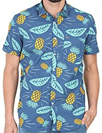 Cranberry Tusok Men Short Sleeve Shirt Casual Hawaiian Aloha Flower Floral Leaf Party Beach Vacation Printed Indigo Blue Yellow Pineapple Fruit