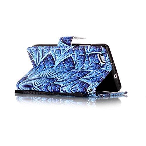 Coque Huawei P8 Lite, Aeeque® Housse Étui en PU Cuir Bumper Flip Cover Bookstyle Support Cartes Slots Joli Fleur de Paon Bleu Ultra Mince Léger Fermeture Aimantée Étui pour Huawei P8 Lite Fleur de Paon Bleu