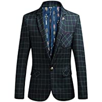 Hzcx Fashion da uomo Business Plaid Fit One Button