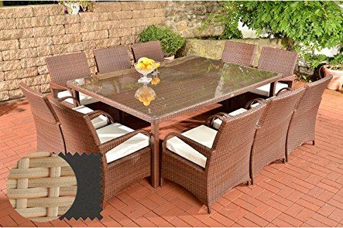CLP Salon de Jardin XXL Pizzo en polyrotin, Ensemble de Meubles avec dix chaises et Une Table de Taille 210 x 150 cm Rotin: Sable, Revêtement: Anthracite