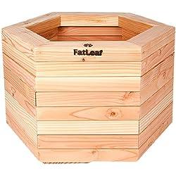 Macetero hexagonal de madera de alerce, mediano, 59cm de largo, 52cm de ancho, 35cm de alto