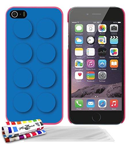 Ultraflache weiche Schutzhülle APPLE IPHONE 5S / IPHONE SE [Blue brick] [Lila] von MUZZANO + STIFT und MICROFASERTUCH MUZZANO® GRATIS - Das ULTIMATIVE, ELEGANTE UND LANGLEBIGE Schutz-Case für Ihr APPL Bonbonrosa + 3 Displayschutzfolien