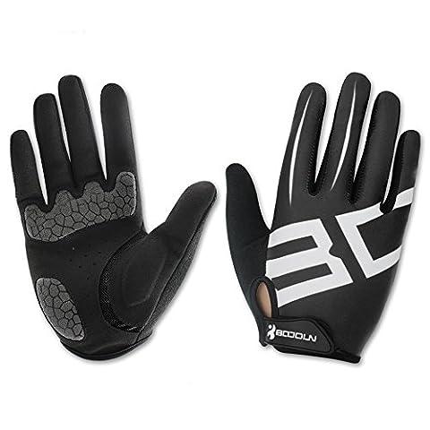 Gants de Cyclisme Velo VTT Fitness Elastique Respirable - Noir/Rouge - Unisex