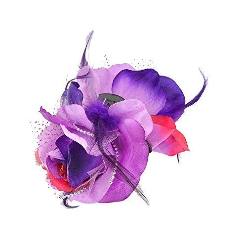 Pince Crabe A Cheveux - Plastique et Textile, Plume, Perles - Fleur Violet - 13 cm - Accessoire Coiffure
