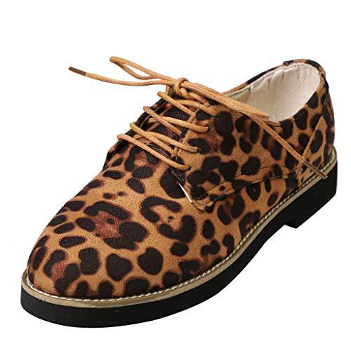 Bhydry scarpe donna rotonda piedi leopardo stampa caviglia piatta suede casual pizzo su scarpe singole(41 eu,marrone)