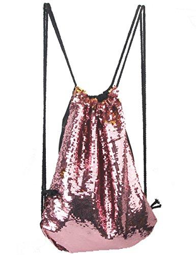 Glitter reversibile Mermadi Sequin coulisse zaino Fashion Bling Shining sport palestra sacca con coulisse zaino, Rose+Silver, Taglia unica Gold+Pink