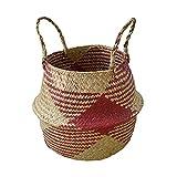 Daily Necessities Ablagekorb Korb Blumenkorb Vase Blumentopf Deko-Box Grasbeutel Gestreift (Color : A, Size : 25/32 * 30CM)