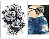 EROSPA® Tattoo-Bogen temporär / Sticker - Schwarze Rose - Wasserfest