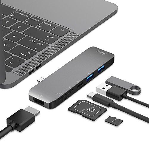 IDEER LIFE 6 in 1 USB Typ C Hub mit HDMI, Multifunktionaler Adapter für MacBook Pro und andere Geräte vom Typ C, SD/TF Kartenleser, Aluminum Typ C Hub, USB 3,0 Anschluss (02001-Spacegrau) (Usb-anschluss Kartenleser)